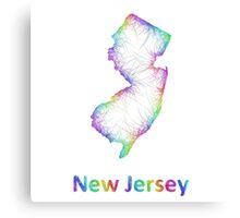 Rainbow New Jersey map Canvas Print