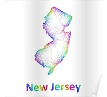 Rainbow New Jersey map Poster