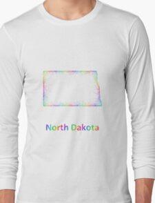 Rainbow North Dakota map Long Sleeve T-Shirt