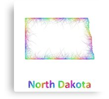 Rainbow North Dakota map Canvas Print