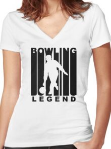 Retro Bowling Legend Women's Fitted V-Neck T-Shirt