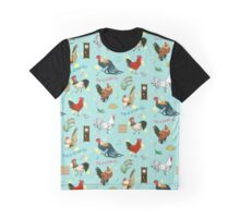 Cute seamless roosters pattern cartoon Graphic T-Shirt