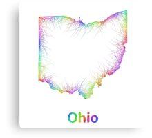 Rainbow Ohio map Canvas Print