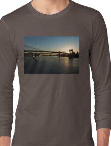 Soaring - Brooklyn Bridge Sunrise with a Seagull Long Sleeve T-Shirt
