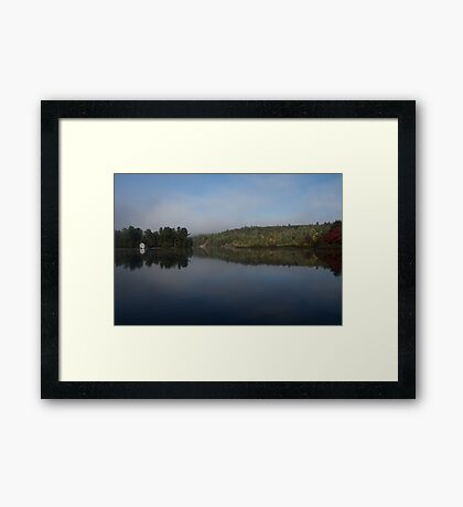 Lakeside Cottage Living - Gentle Morning Fog Framed Print