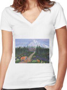 Denali, Alaska Women's Fitted V-Neck T-Shirt