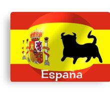 Spanish Flag With Bull Canvas Print