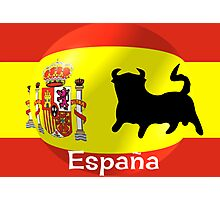 Spanish Flag With Bull Photographic Print