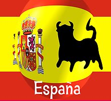 Spanish Flag With Bull by biglnet