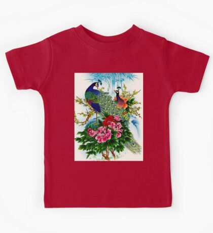 """PEACOCKS IN PARADISE: Art Deco Print Kids Tee"