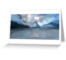 Mountainous Waterscape Greeting Card