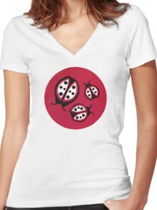 Retro Ladybugs Vintage Insects Red Black & White Bugs Women's Fitted V-Neck T-Shirt