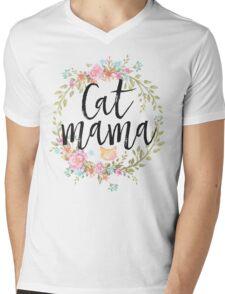 CAT MAMA Mens V-Neck T-Shirt