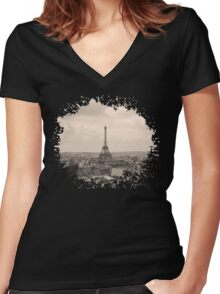 Paris Women's Fitted V-Neck T-Shirt