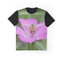 Hoverfly on Pink flower Graphic T-Shirt