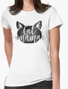 CAT MAMA BLACK Womens Fitted T-Shirt