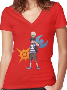 Pokémon Sun and Pokémon Moon - Trainer (Male) w/ Sun and Moon Logo and Rowlet Women's Fitted V-Neck T-Shirt