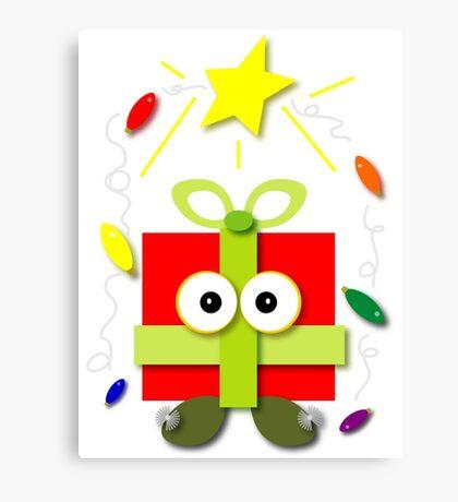Gifted Kawaii Cartoon Christmas Present Canvas Print