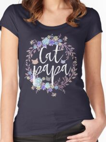 CAT PAPA - Flower crown Women's Fitted Scoop T-Shirt