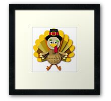 Kawaii Cartoon Thanksgiving Turkey Framed Print