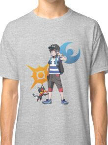 Pokémon Sun and Pokémon Moon - Trainer (Male) w/ Sun and Moon Logo and Litten Classic T-Shirt