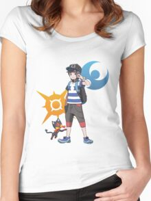 Pokémon Sun and Pokémon Moon - Trainer (Male) w/ Sun and Moon Logo and Litten Women's Fitted Scoop T-Shirt