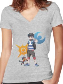 Pokémon Sun and Pokémon Moon - Trainer (Male) w/ Sun and Moon Logo and Litten Women's Fitted V-Neck T-Shirt