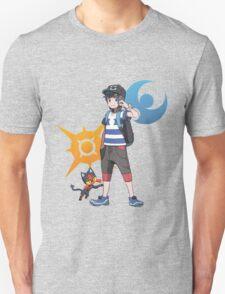Pokémon Sun and Pokémon Moon - Trainer (Male) w/ Sun and Moon Logo and Litten Unisex T-Shirt