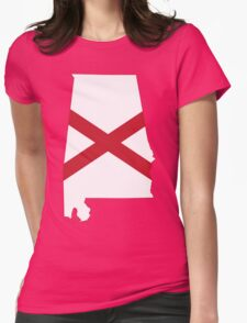 Flag Map of Alabama  Womens Fitted T-Shirt
