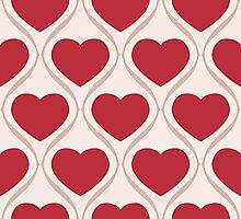 Ogee Heart Red: Bone Mocha Photographic Print