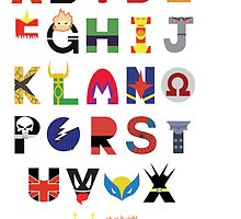 marvel superhero alphabet by Audrey Metcalf