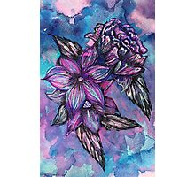 Purple Ink Flowers Photographic Print