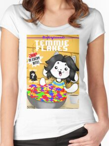 temmie flakes Women's Fitted Scoop T-Shirt