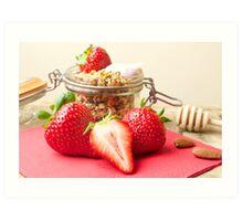 Strawberries and granola Art Print