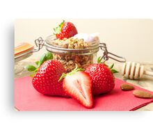 Strawberries and granola Canvas Print