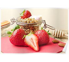 Strawberries and granola Poster