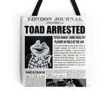 Toad Arrested Newspaper Tote Bag