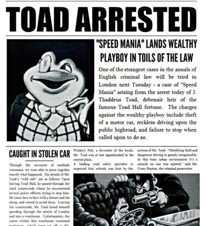 Toad Arrested Newspaper Sticker