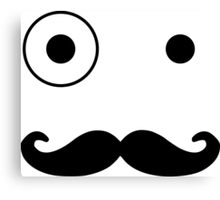 Funny Cartoon Face With Mustache And Eyes Canvas Print