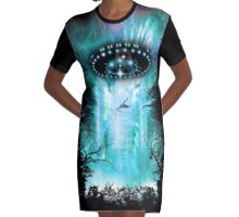 Alien Invasion Graphic T-Shirt Dress