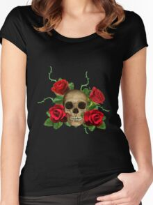 Skull Rose bed Women's Fitted Scoop T-Shirt