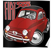 Fiat 500 caricature red Poster