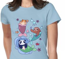 Mermaid Sloth Cat and Panda Womens Fitted T-Shirt
