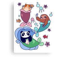 Mermaid Sloth Cat and Panda Canvas Print