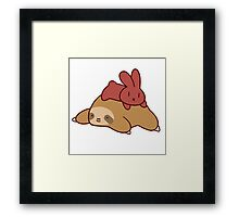 Sloth and Bunny Framed Print