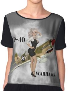 P-40 Pin Up Art Chiffon Top