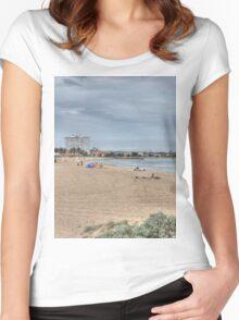 St Kilda Beach Panorama Women's Fitted Scoop T-Shirt