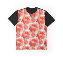 Red Flower Pattern Graphic T-Shirt