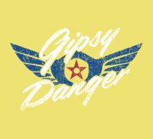 Gipsy Danger Distressed Logo in White Kids Tee