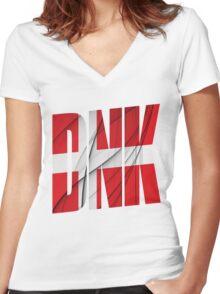 DNK - Danmark Flag Women's Fitted V-Neck T-Shirt